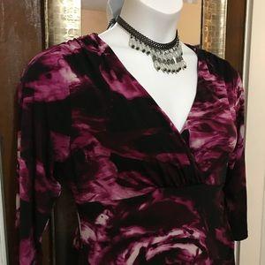 📌Lg print violet Floral Dress